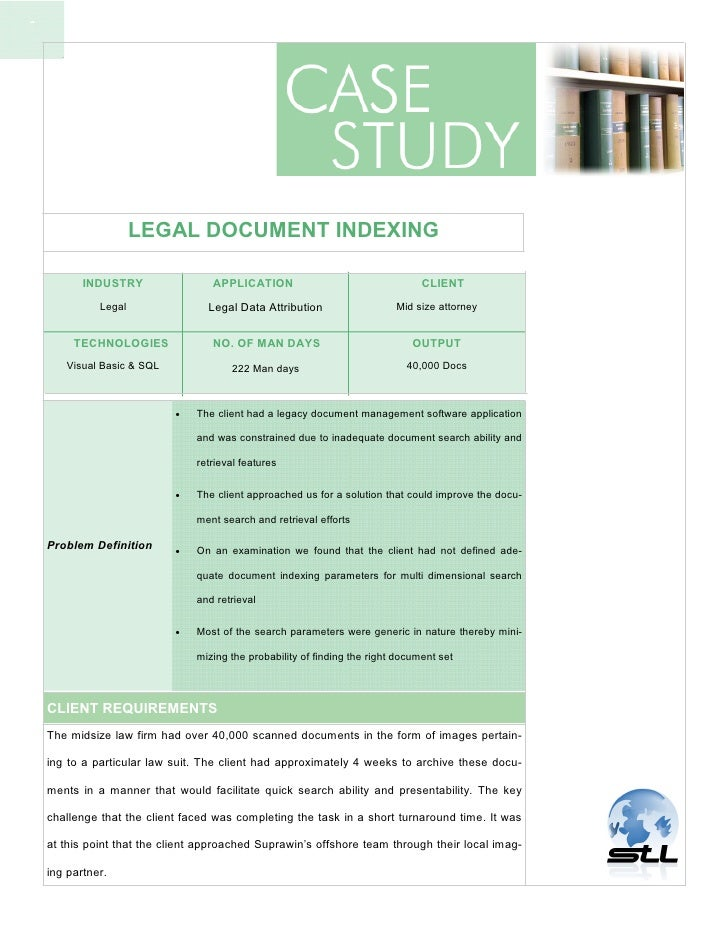 1                           LEGAL DOCUMENT INDEXING             INDUSTRY                APPLICATION                       ...