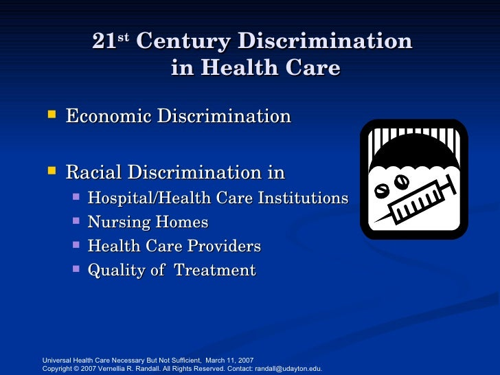 discrimination in health care 2015 paper in the annual review of clinical psychology reviewing the research literature on how racial discrimination can impact the health and well-being of individuals.
