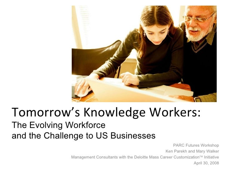 Tomorrow's Knowledge Workers:  The Evolving Workforce  and the Challenge to US Businesses PARC Futures Workshop Ken Parekh...