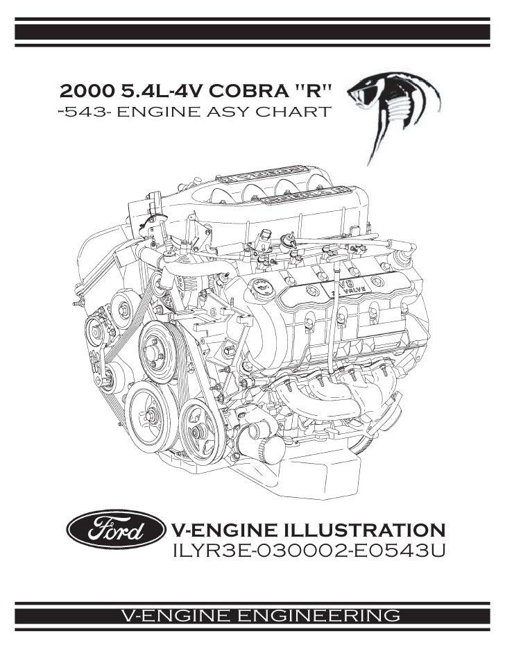 2000 5.4L-4V COBRA quot;Rquot; -543- ENGINE ASY CHART              V-ENGINE ILLUSTRATION          ILYR3E-030002-E0543U    ...