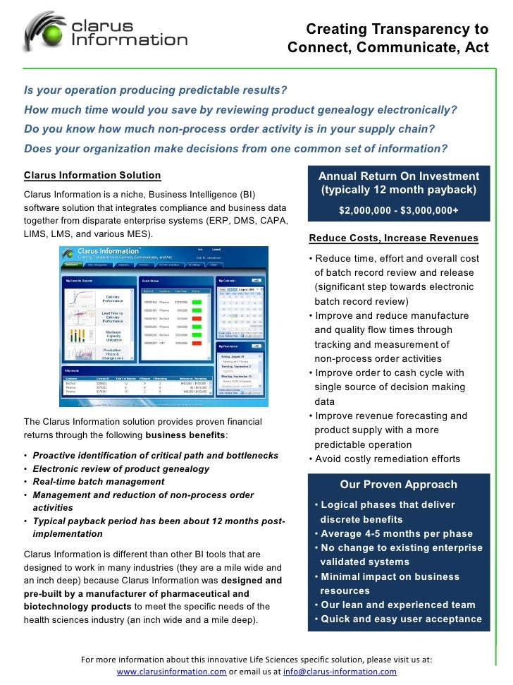 Clarus Information Overview Handout   Commercial