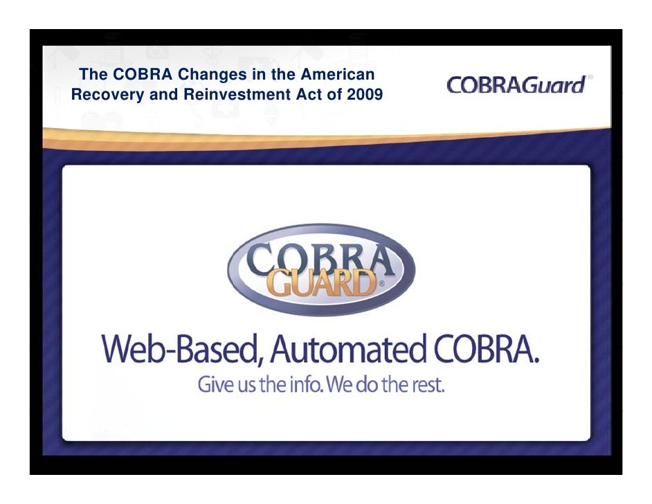 The COBRA Changes in the American Recovery and Reinvestment Act of 2009