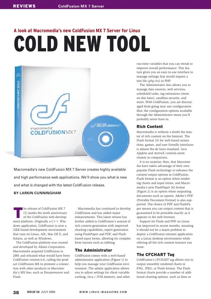 REVIEWS COVER STORY                     ColdFusion sollte hier stehen                                 Schlagwort MX 7 Serv...