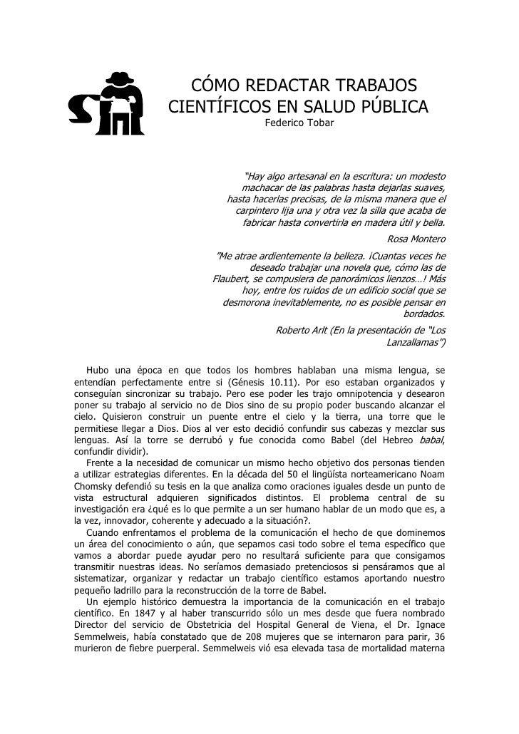 CÓMO REDACTAR TRABAJOS                       CIENTÍFICOS EN SALUD PÚBLICA                                             Fede...
