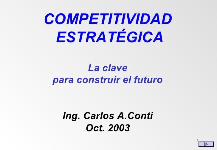 COMPETITIVIDAD  ESTRATÉGICA La clave para construir el futuro Ing. Carlos A.Conti Oct. 2003