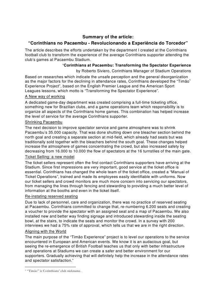 "Summary of the article:     ""Corinthians no Pacaembu - Revolucionando a Experiência do Torcedor"" The article describes the..."