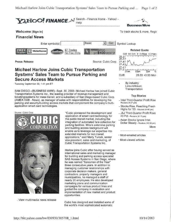 Cubic Harlow Yahoo Finance