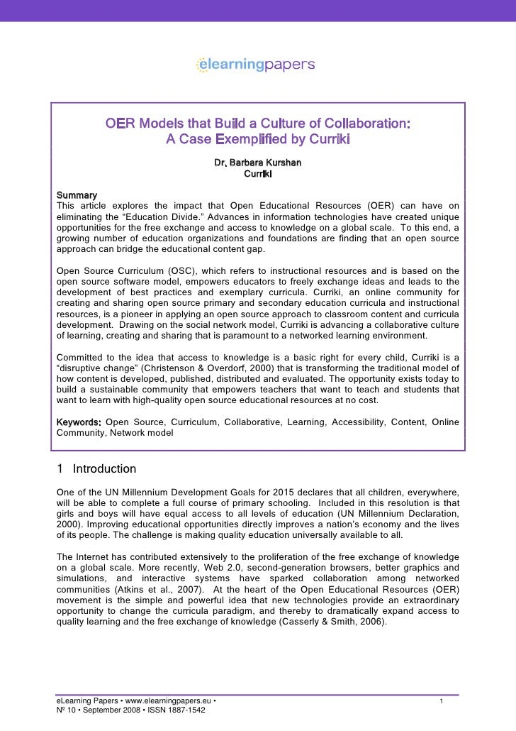 OER Models that Build a Culture of Collaboration: A Case Exemplified by Curriki