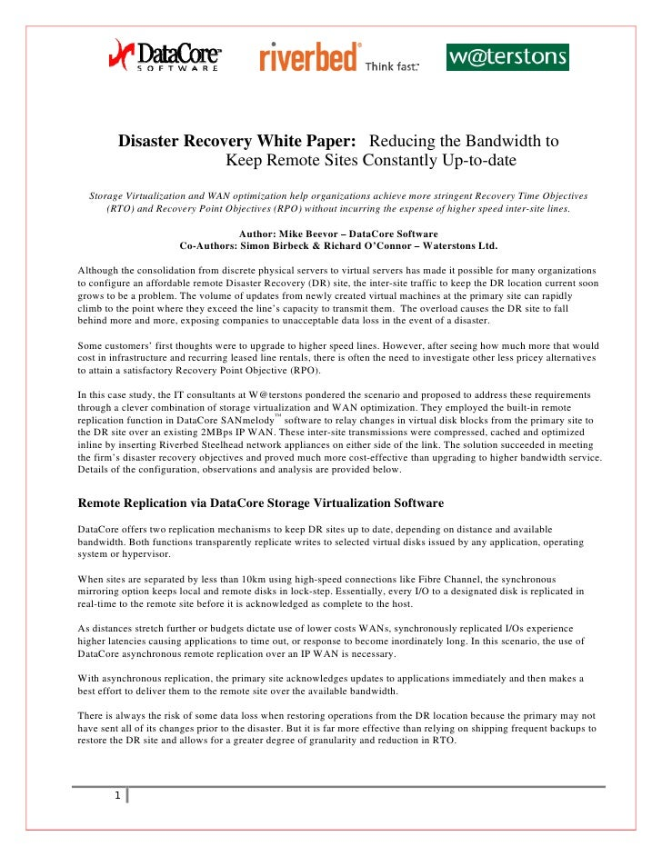 Disaster Recovery White Paper: Reducing the Bandwidth to                        Keep Remote Sites Constantly Up-to-date   ...