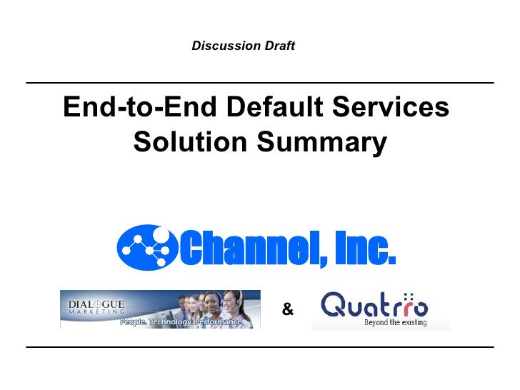 End-to-End Default Services  Solution Summary & Discussion Draft