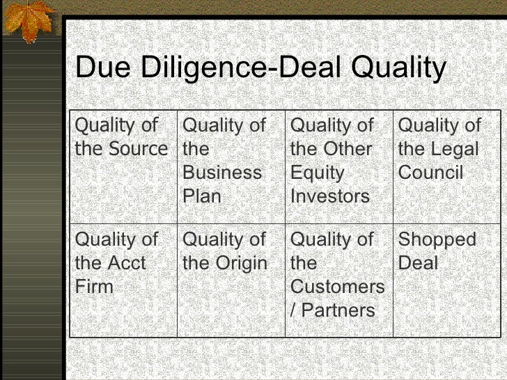 Due Diligence-Deal Quality Shopped Deal Quality of the Customers/ Partners Quality of the Origin Quality of the Acct Firm ...