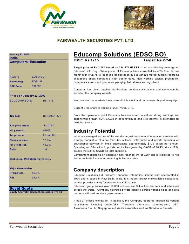 FAIRWEALTH SECURITIES PVT. LTD.                                                    Educomp Solutions (EDSO.BO) January 22,...