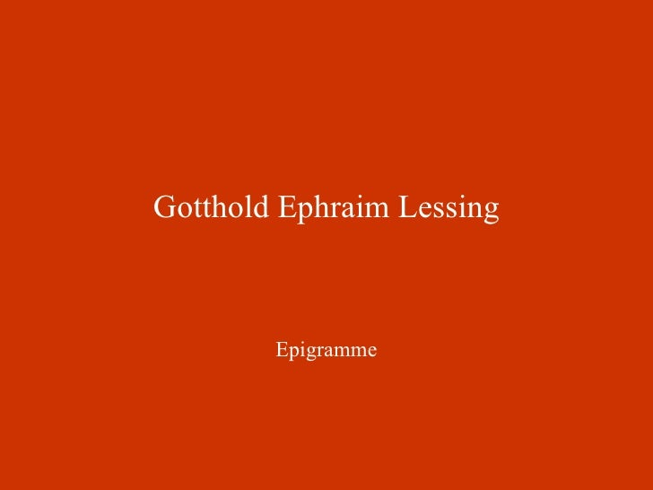 Gotthold Ephraim Lessing Epigramme