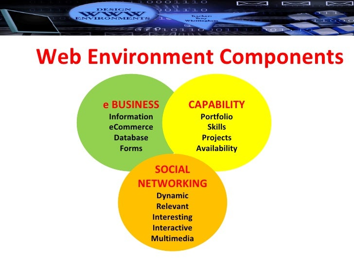 Web Environment Components e BUSINESS Information eCommerce Database Forms CAPABILITY Portfolio Skills Projects Availabili...