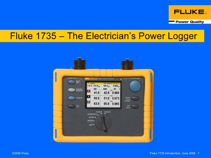 Fluke 1735 – The Electrician's Power Logger
