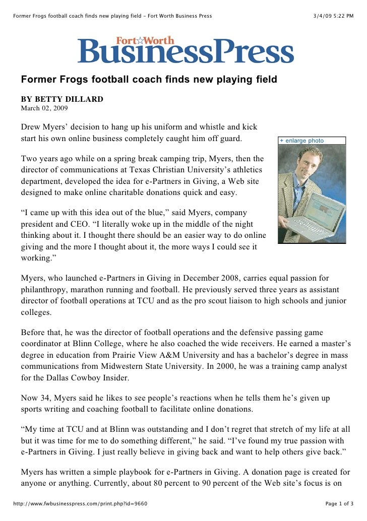 Former Frogs football coach finds new playing field - Fort Worth Business Press              3/4/09 5:22 PM        Former ...