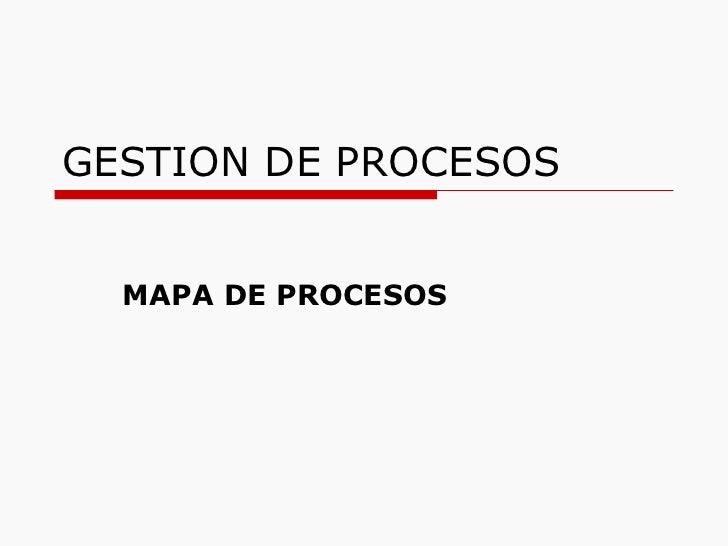 GESTION DE PROCESOS MAPA DE PROCESOS