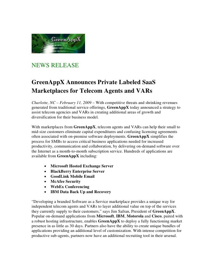 Green App X Announces Private Labeled Saa S Marketplaces 2 11 09