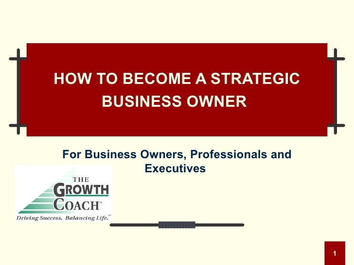 HOW TO BECOME A STRATEGIC BUSINESS OWNER   For Business Owners, Professionals and Executives