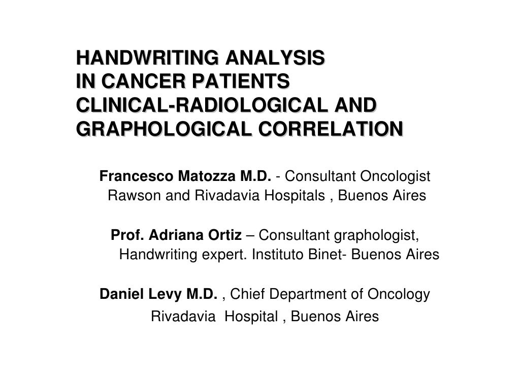 Handwriting analysis in cancer patients