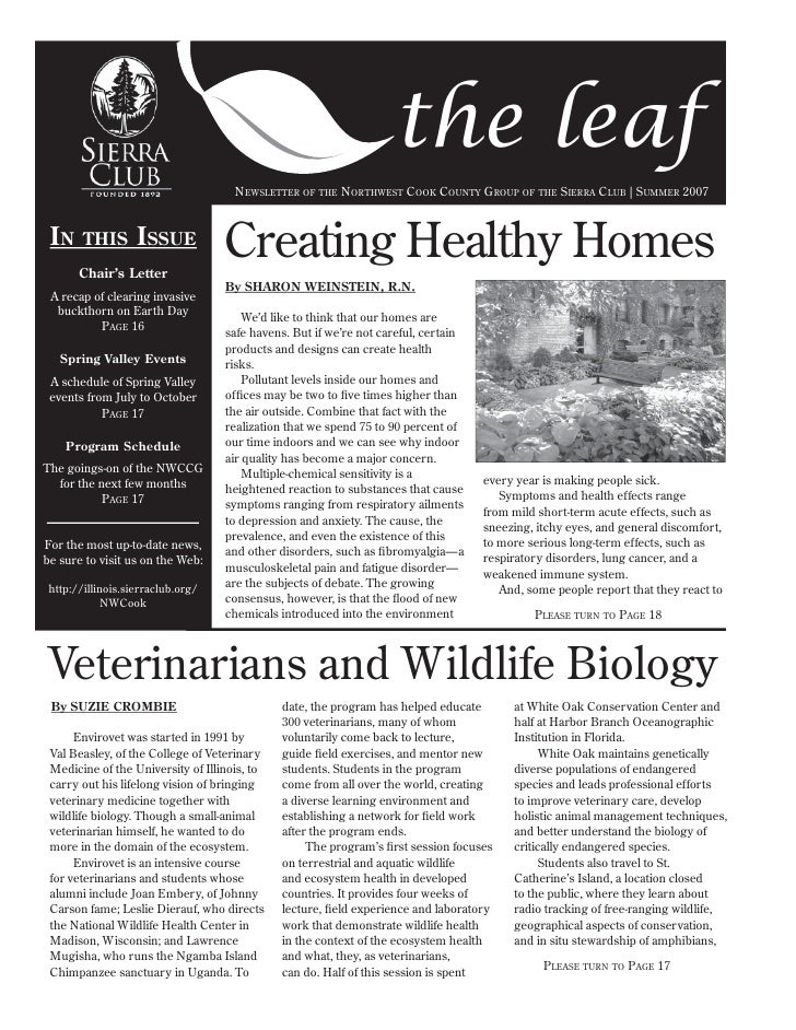 the leaf                                      NEWSLETTER OF THE NORTHWEST COOK COUNTY GROUP OF THE SIERRA CLUB | SUMMER 20...