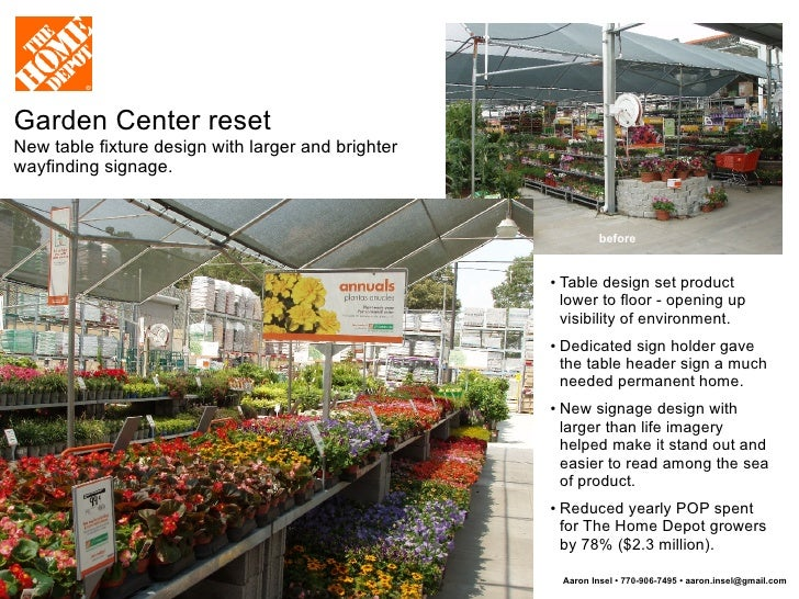 The home depot visual merchandising signage pop and for Garden center designs