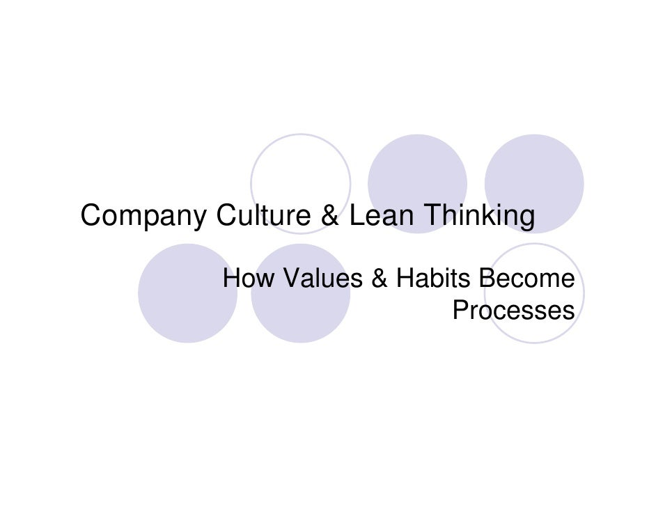 Company Culture & Lean Thinking           How Values & Habits Become                           Processes