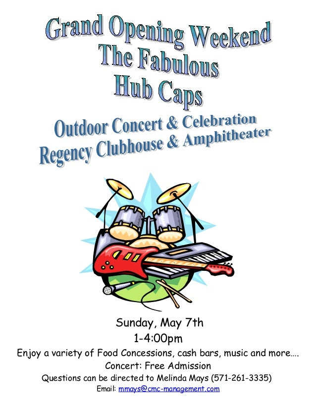 Sunday, May 7th 1-4:00pm Enjoy a variety of Food Concessions, cash bars, music and more…. Concert: Free Admission Question...