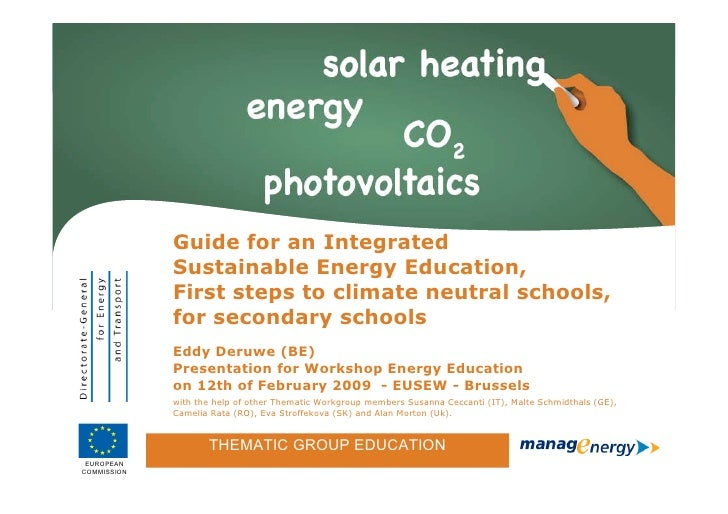 Guide for an Integrated                    Sustainable Energy Education,                    First steps to climate neutral...