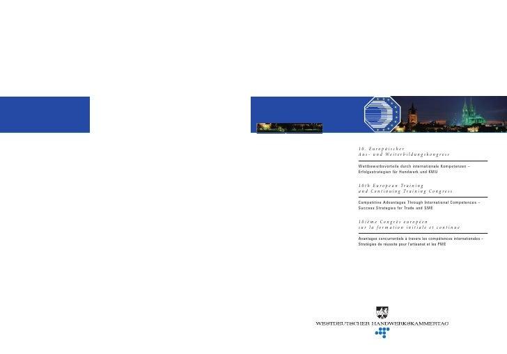 10. Europäischer A u s - u n d We i t e r b i l d u n g s k o n g r e s s  Wettbewerbsvorteile durch internationale Kompet...