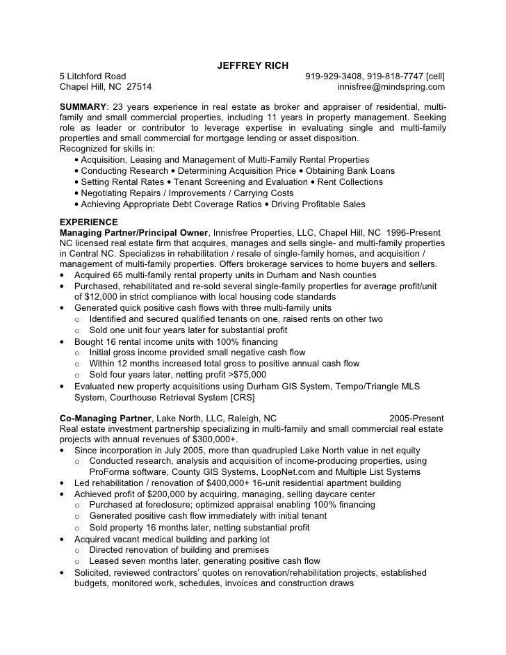 Commercial Real Estate Property Manager Resume - Contegri.com