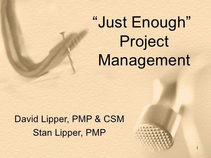 """ Just Enough""  Project Management David Lipper, PMP & CSM Stan Lipper, PMP"