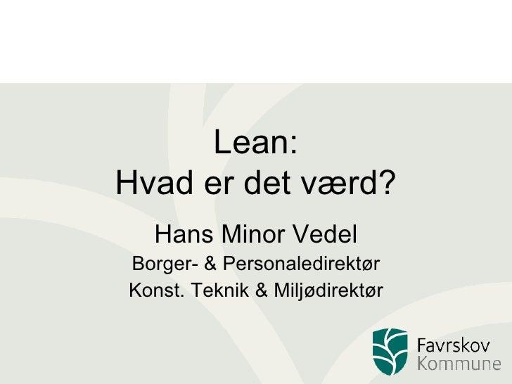 Lean  OplæG For Lean Kursus 18. November 2008