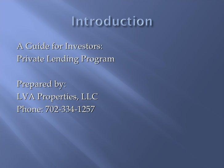 LVA Private Investors Prospectus