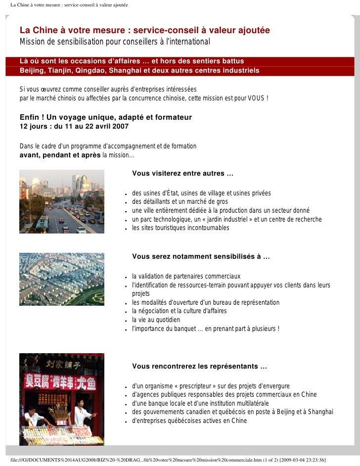La Chine à Votre Mesure Mission Commerciale