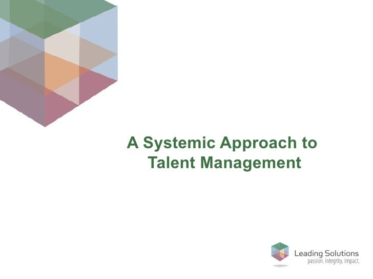A Systemic Approach to  Talent Management