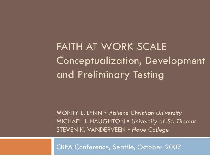 Faith at Work I