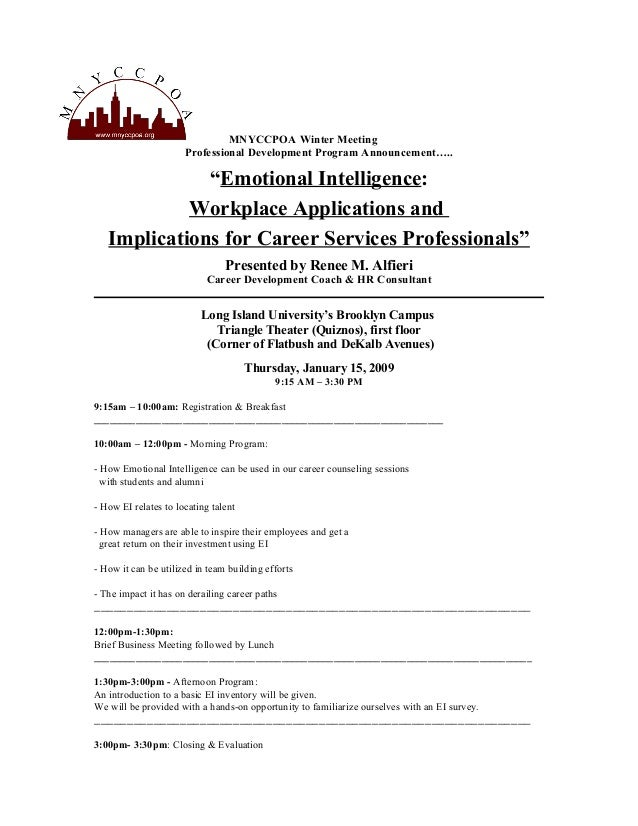 "MNYCCPOA Winter Meeting Professional Development Program Announcement….. ""Emotional Intelligence: Workplace Applications a..."