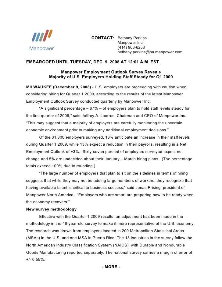 Manpower Q1 2009 Press Release
