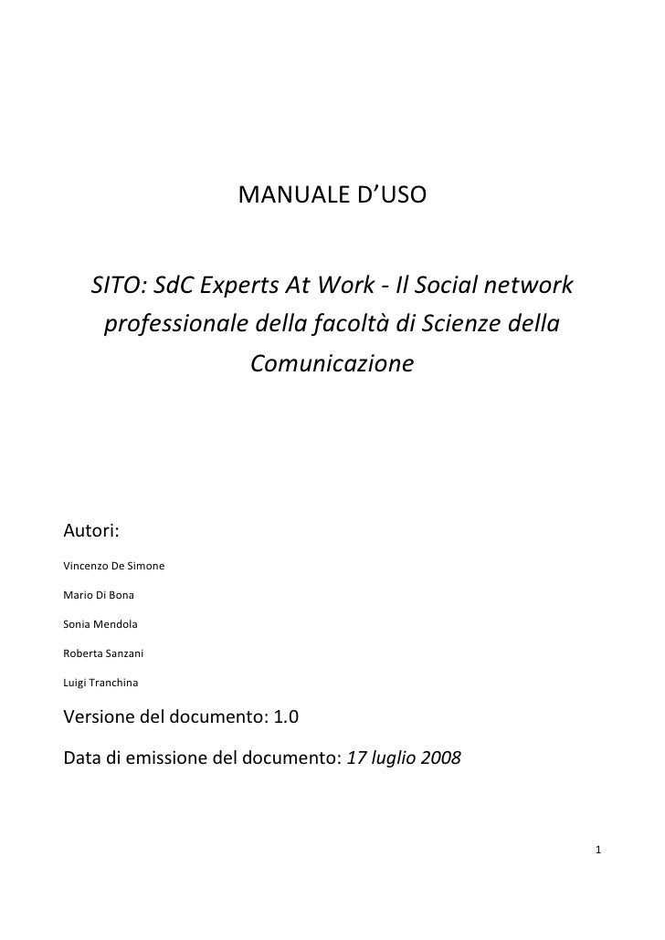 MANUALE D'USO        SITO: SdC Experts At Work - Il Social network       professionale della facoltà di Scienze della     ...