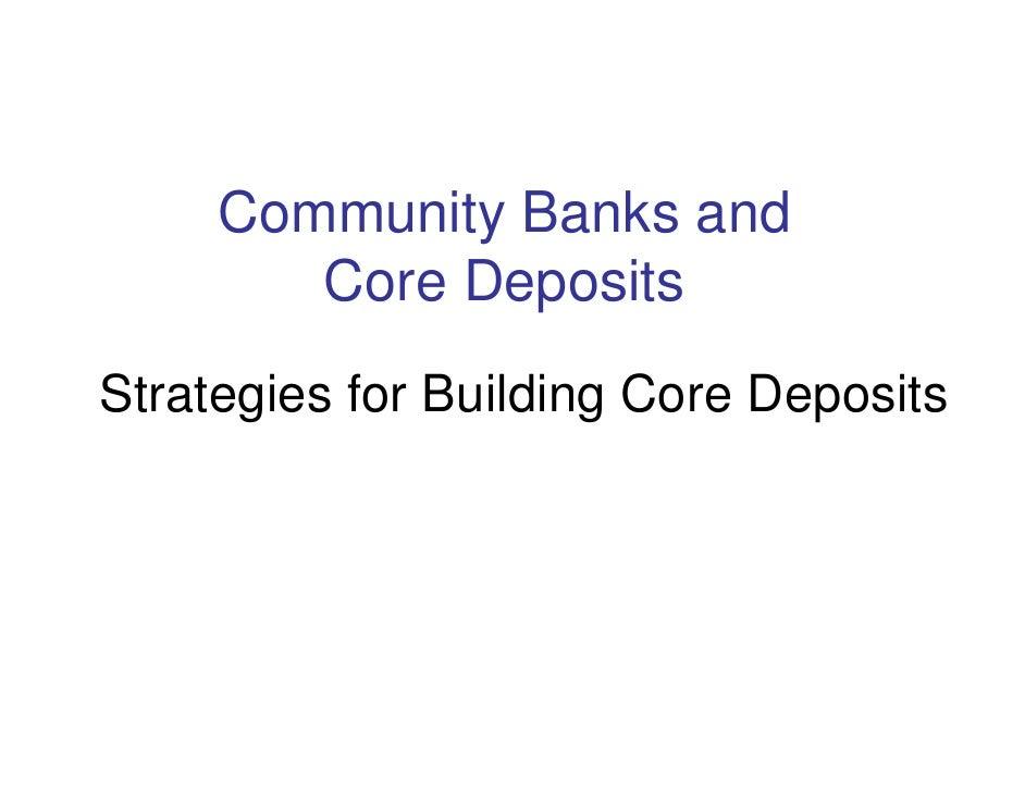 Maryland Community Bank Deposit Stategy
