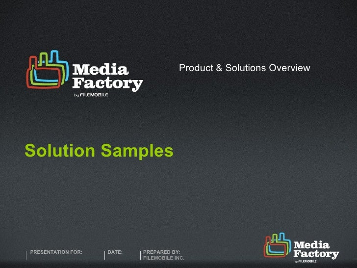 Solution Samples Product & Solutions Overview