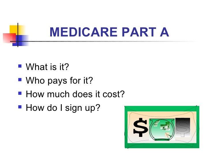 MEDICARE PART A <ul><li>What is it? </li></ul><ul><li>Who pays for it? </li></ul><ul><li>How much does it cost? </li></ul>...