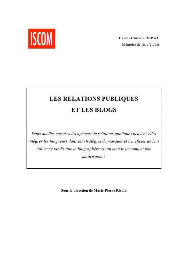 Carine Currit – REP 4 C                                                        Mémoire de fin d'études                 LES...