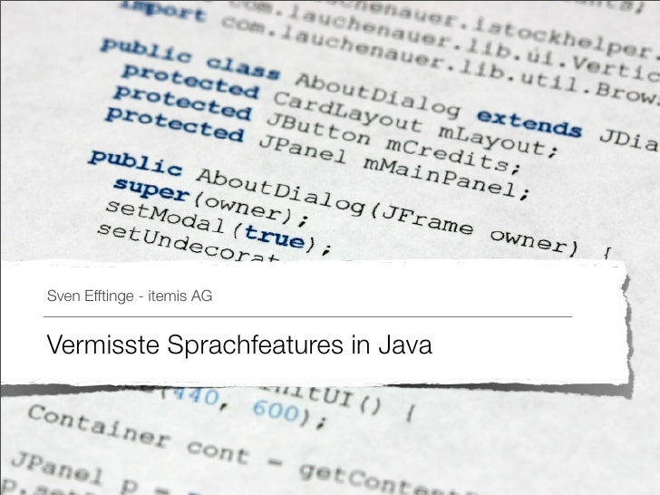 Vermisste Sprachfeatures in Java (german)