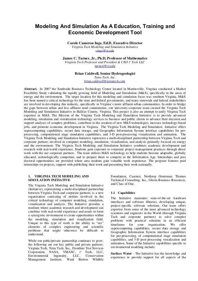 Modeling and Simulation White Paper by Carole Cameron Inge, et al.