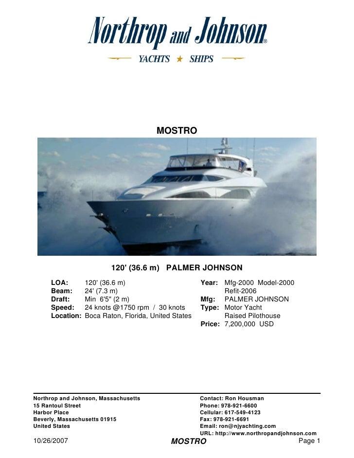 MOSTRO                              120' (36.6 m) PALMER JOHNSON      LOA:        120' (36.6 m)                        Yea...