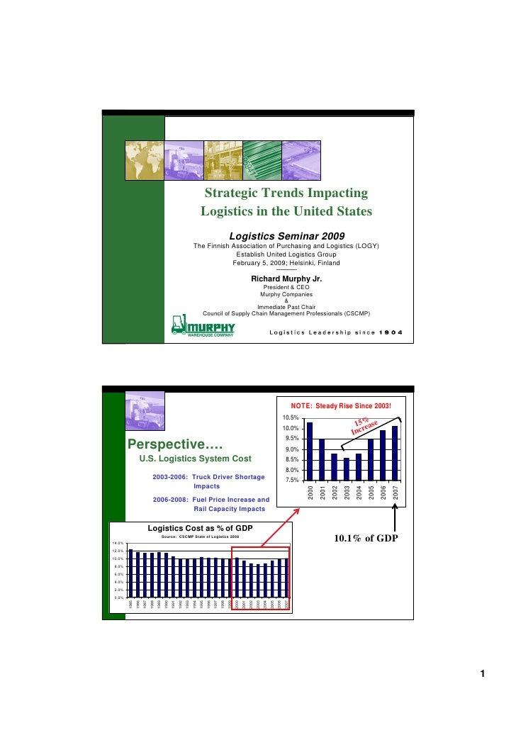 Strategic Trends Impacting                                                                                 Logistics in th...