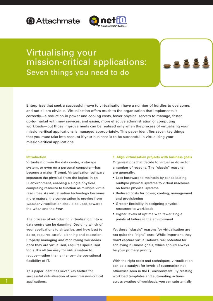 Virtualising your mission-critical applications
