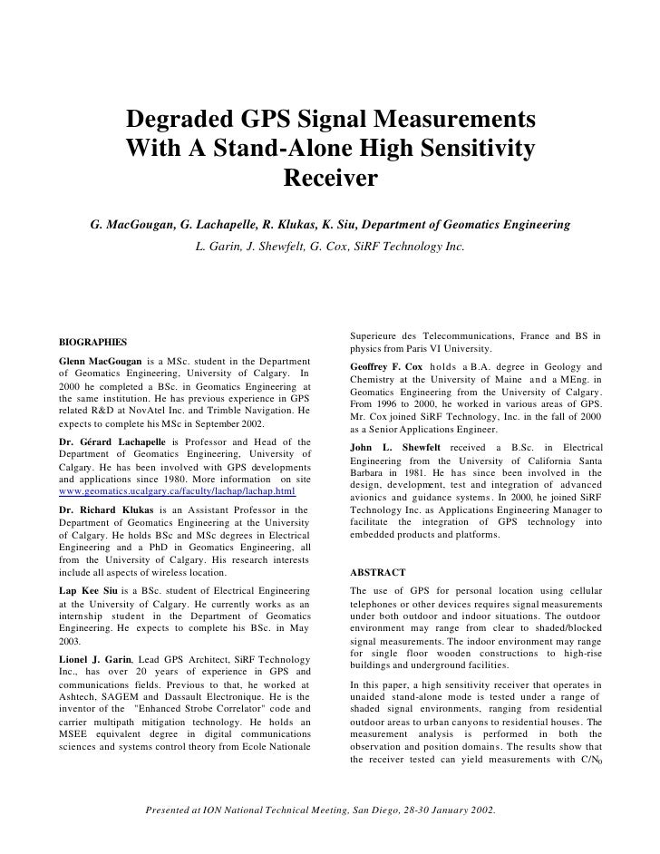 Degraded GPS Signal Measurements               With A Stand-Alone High Sensitivity                           Receiver     ...